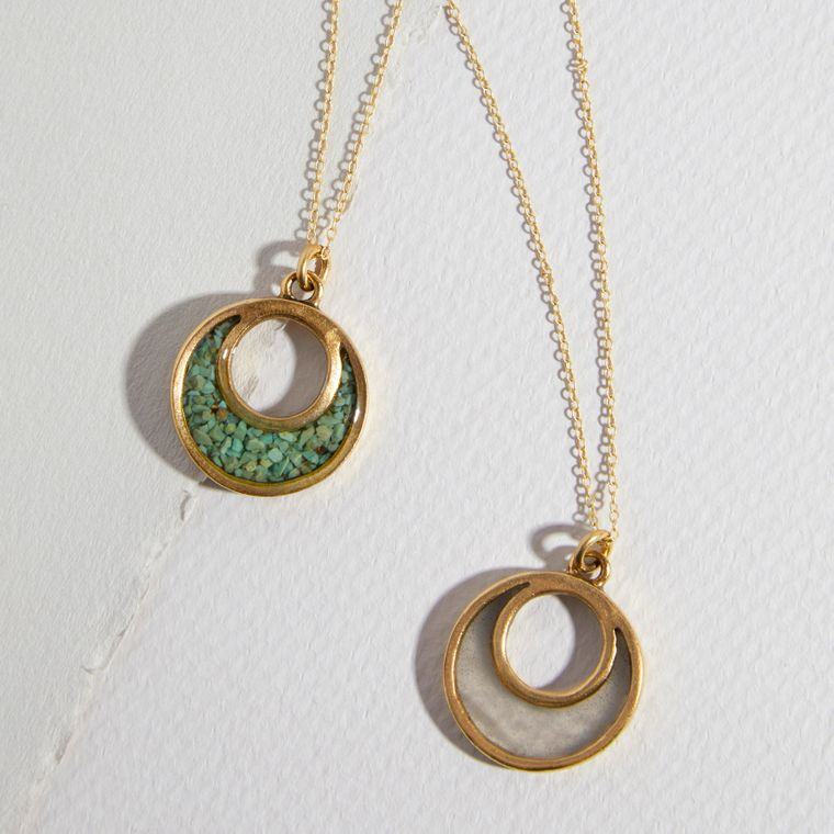 """The Sal~ Petite Open Crescent Necklace on 18"""" Chain in Green Turquoise, Selenite, Pyrite"""