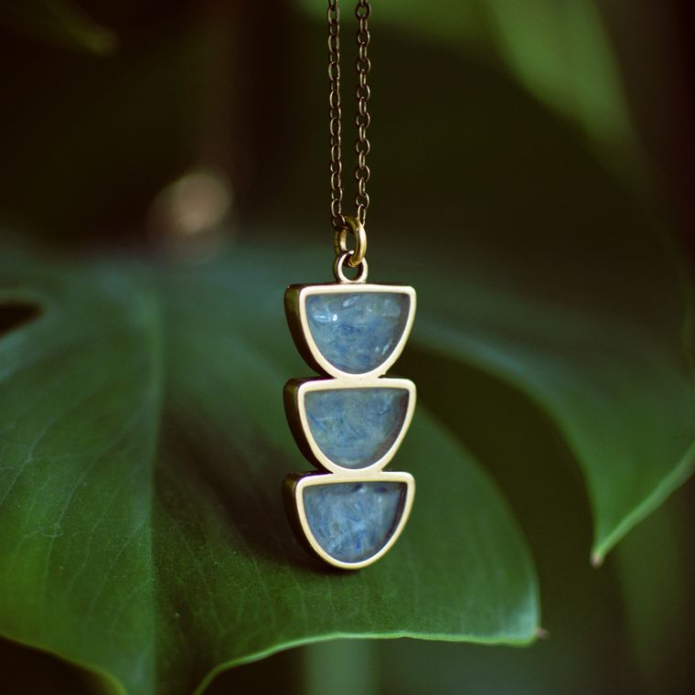 Moon Trio Crushed Gemstone Inlay Necklace