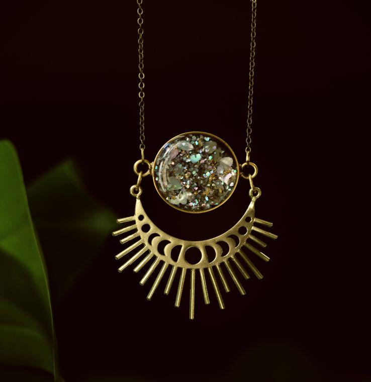Abalone Moonphase Starburst Pendant Necklace