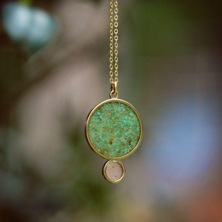 Crushed Gemstone Resin Eclipse Necklace