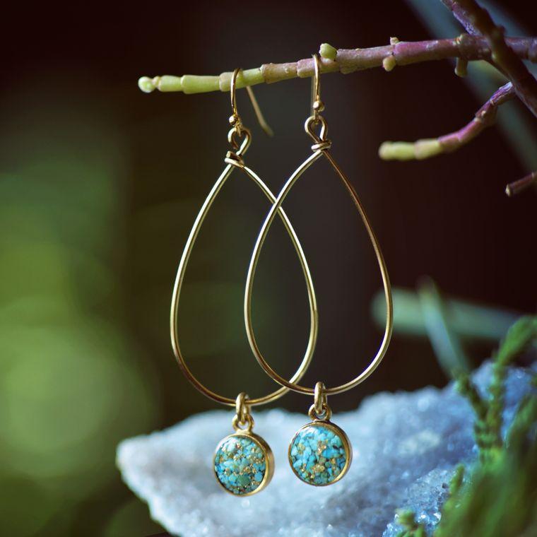 Crushed Turquoise Teardrop Dangle Earrings