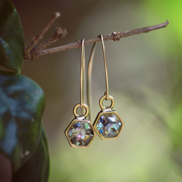 Hex Arc Earrings 14kt gold filled