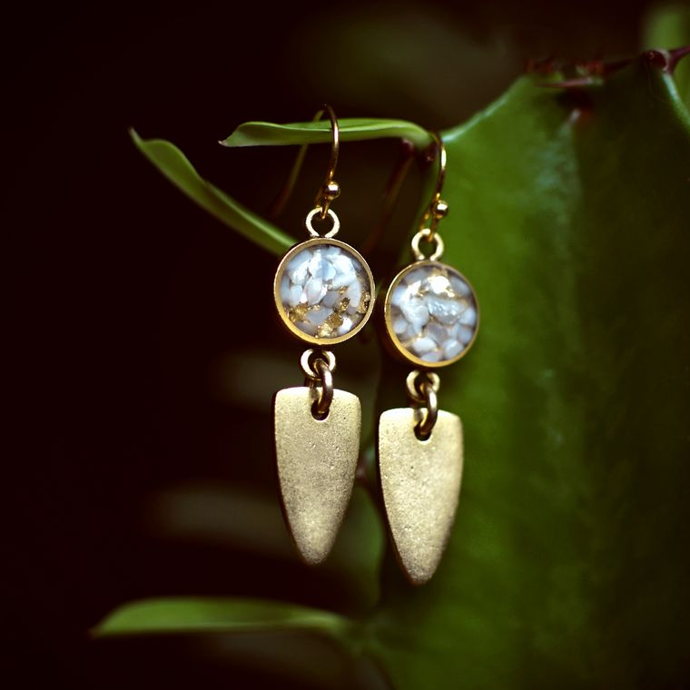 The Maya Earrings in Mother of Pearl + Gold Flake