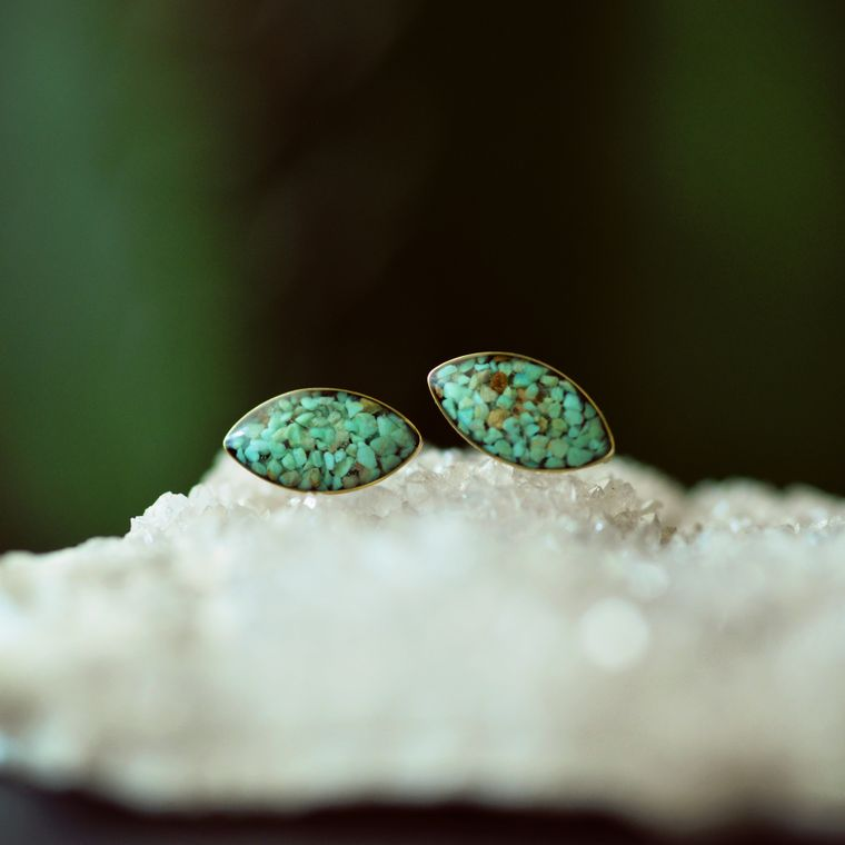 Crushed Crystal and Stone Marquise Post Earrings