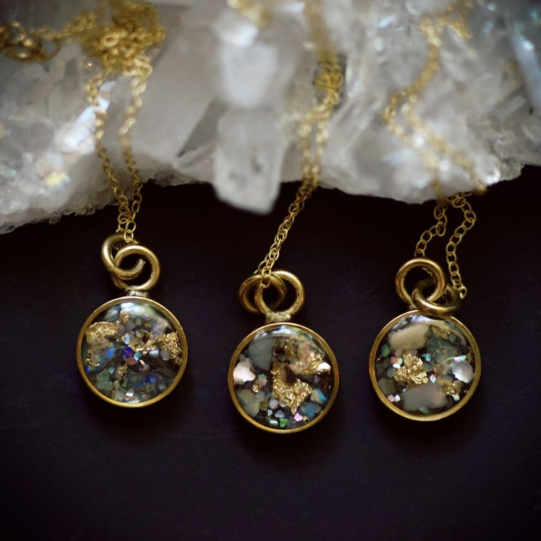 Opal + Abalone Gemstone Confetti Petite Round Necklace