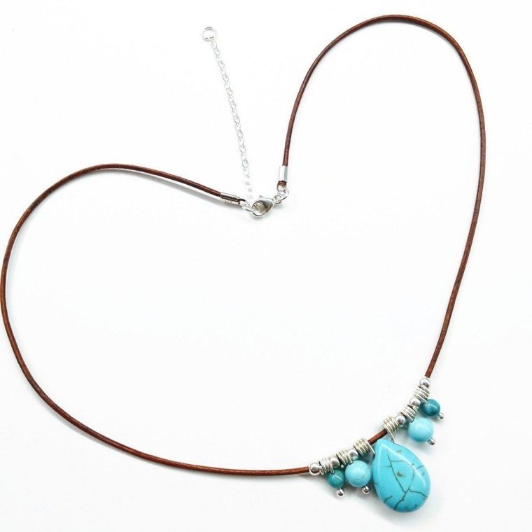 Silver Turquoise Drop Bead Charm Leather Necklace