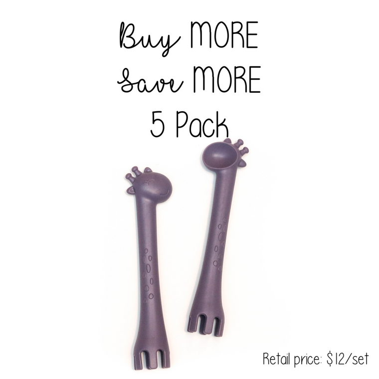 5 Pack | Fork + Spoon : Plum