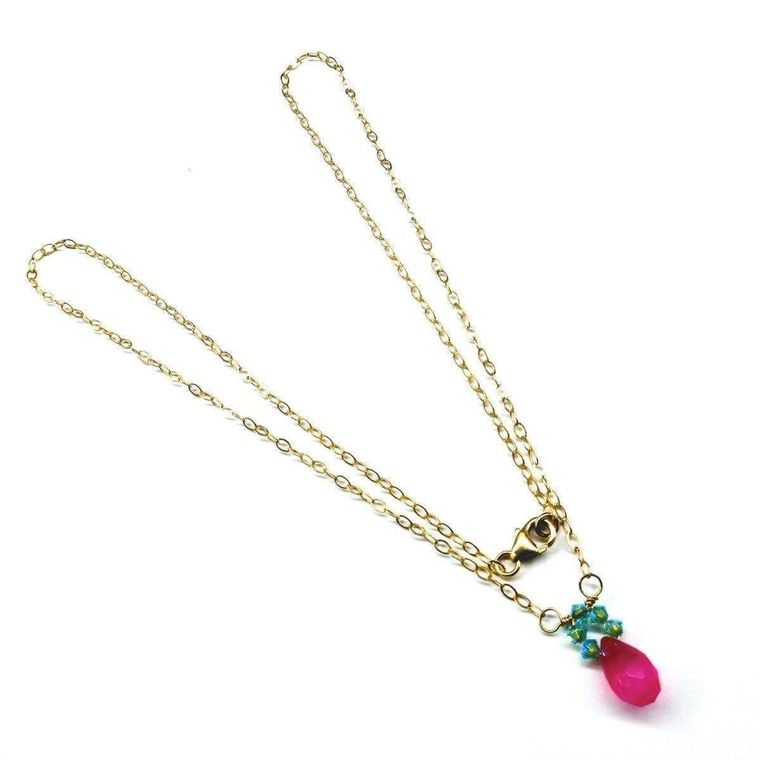 Pink Gemstone Drop and Turquoise Crystal 14 K Gold Filled Necklace