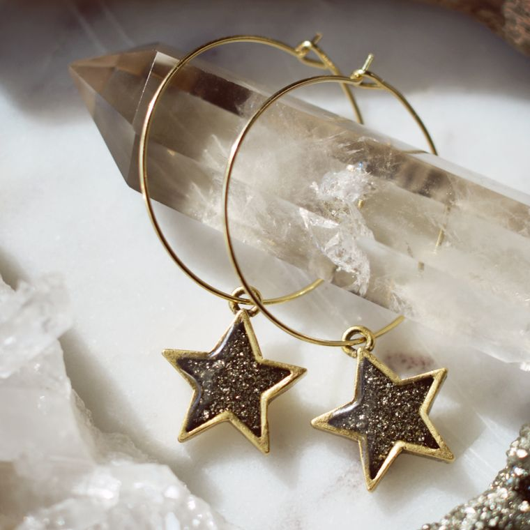 The Becki Crushed Pyrite Star Hoop Earrings