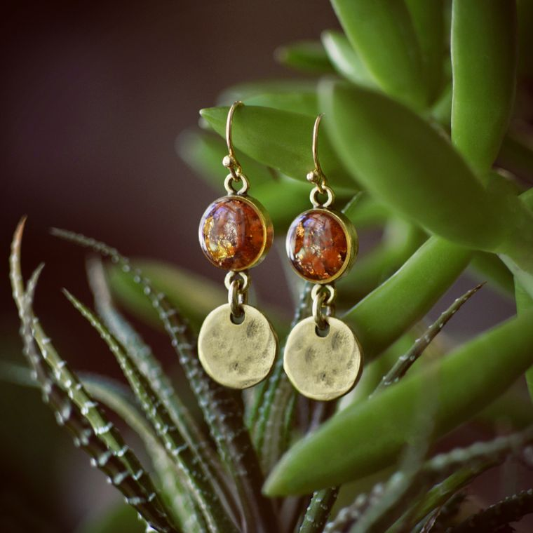 The Cabo Earrings, Crushed Gemstone Drops