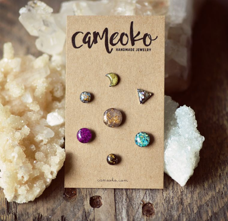 Mix Pack of Post Earrings, Gemstones and Resin