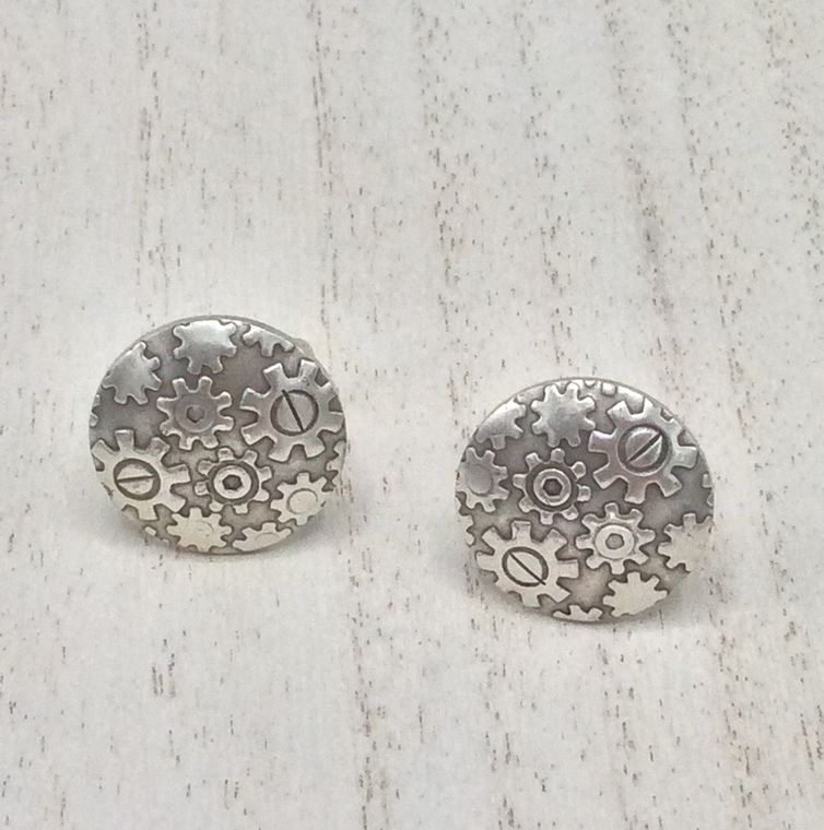 embossed disc cuff links - CL32