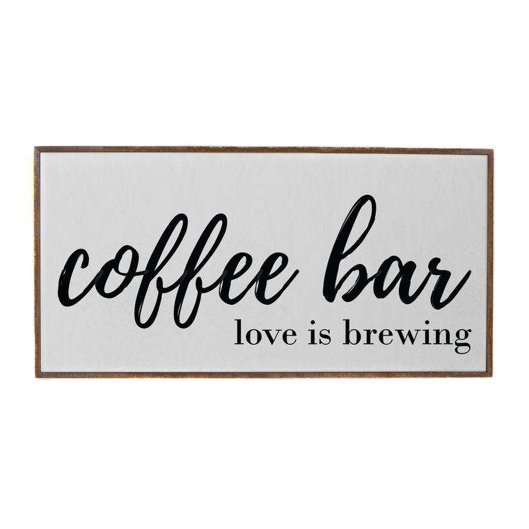 Farmhouse Signs - 32x16 Coffee Bar Love Is Brewing Horizontal Wood Sign