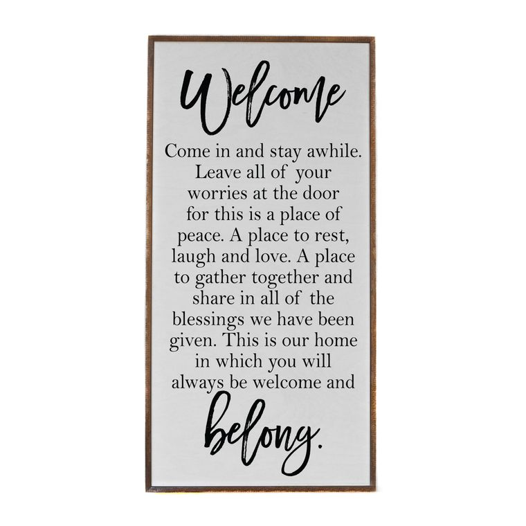 Farmhouse Signs - 32x16 Welcome & Belong Wood Entryway Sign
