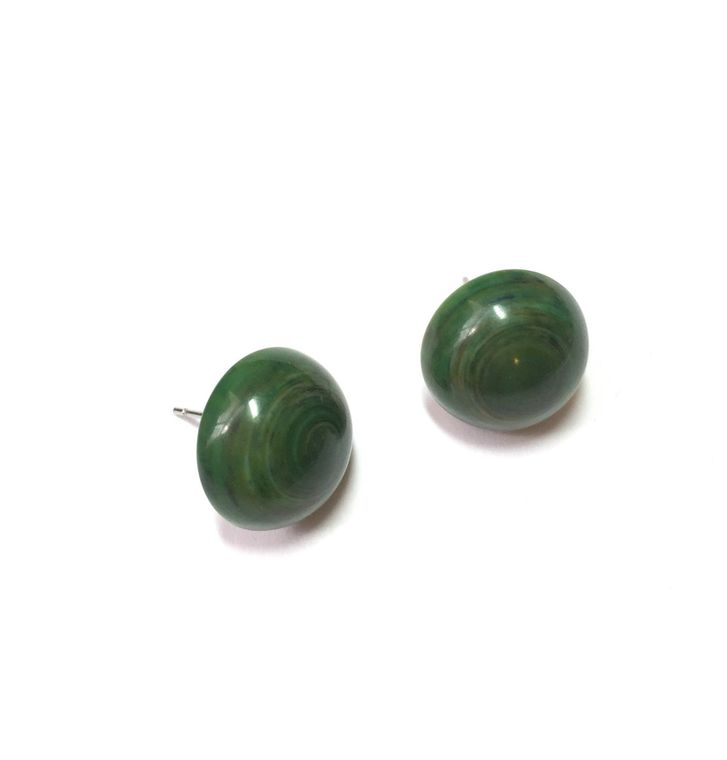 Dark Green Stud Earrings | Marbled Green Studs | vintage lucite Retro Button Stud post earrings