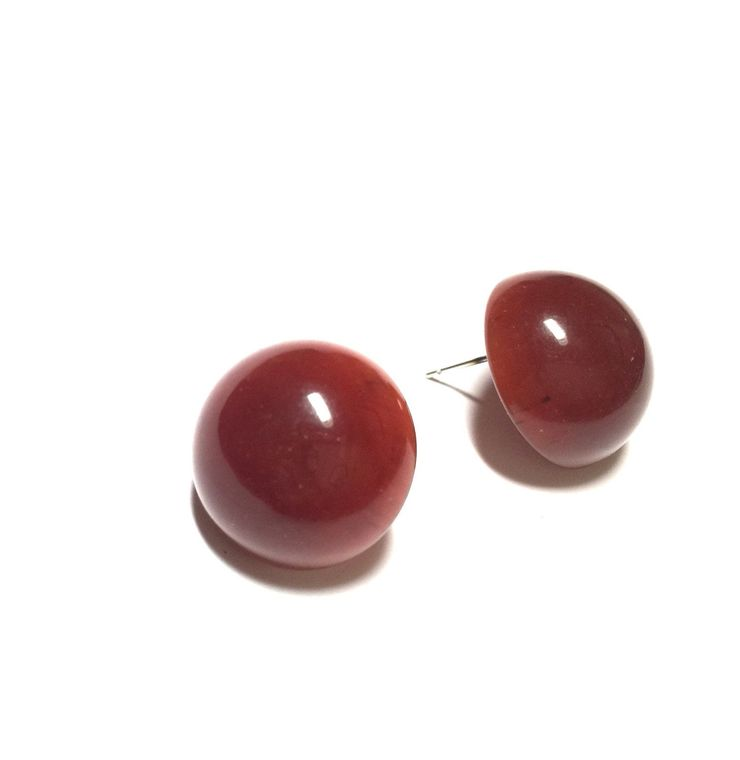 Carnelian Red Stud Earrings | Rusty Red Translucent Retro Button Studs | vintage lucite post earrings