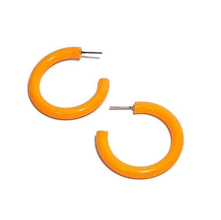 Marigold Lucite Hoops | Tangerine Orange Hoop Earrings | vintage lucite large tube hoop earrings