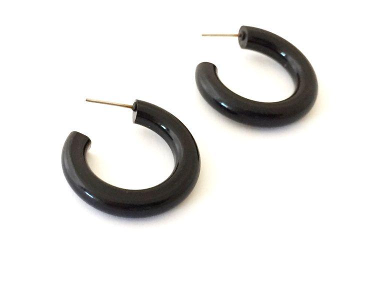 Black Hoop Earrings | Jet Black Hoops | vintage lucite tube hoop earrings