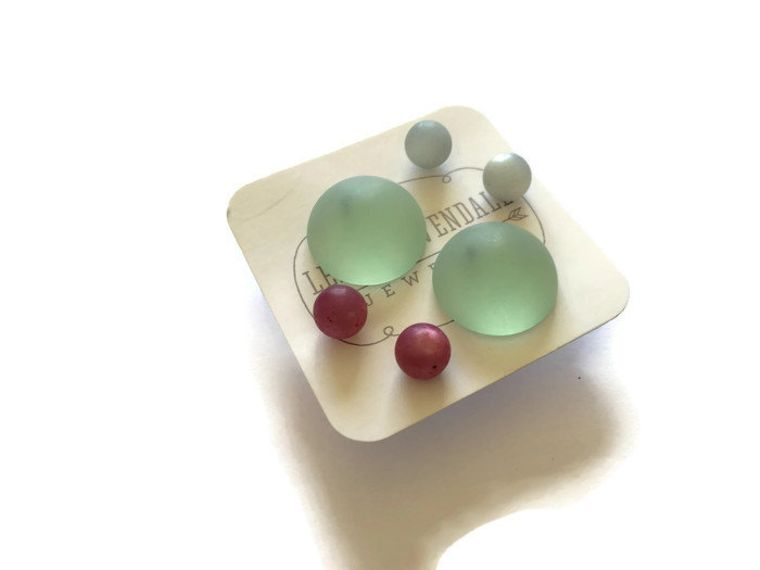 Beach Glass Stud Earrings Set | Sea Glass Mint Buttons with Light Blue & Cranberry Studs | Vintage Lucite Earrings