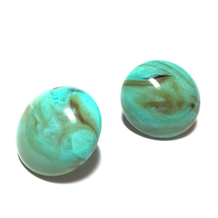 Turquoise Studs | Marbled Aqua Lucite Post Earrings | Turquoise Retro Button Stud | vintage lucite earrings
