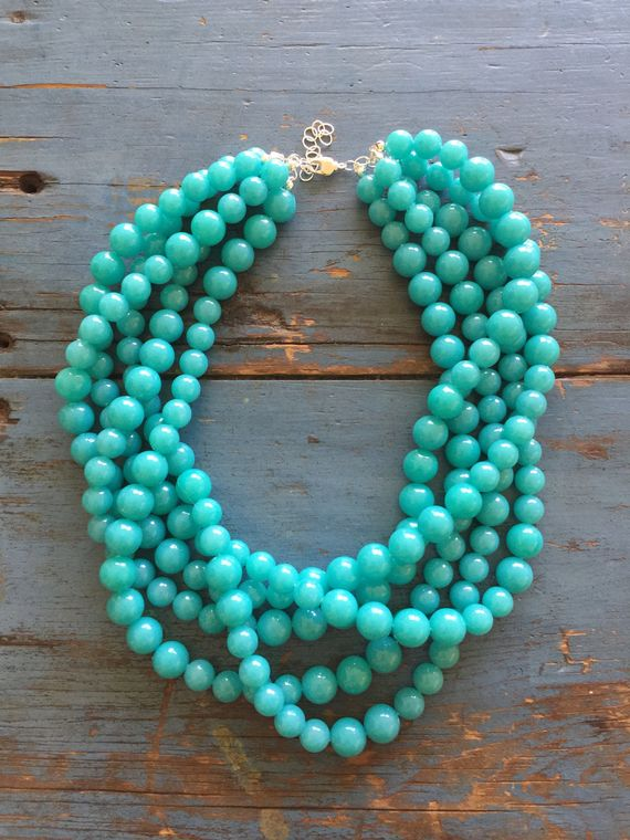 Turquoise Beaded Statement Necklace | Vintage Lucite Sylvie Multi Strand Statement Necklace