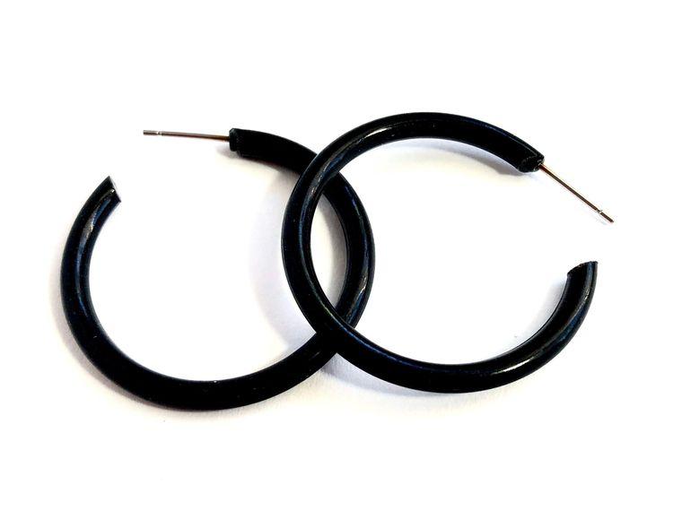 Black Lucite Hoops | Large Lucite Skinny Tube Hoop Earrings | Dark Jet Acrylic Hoops Leetie Lovendale