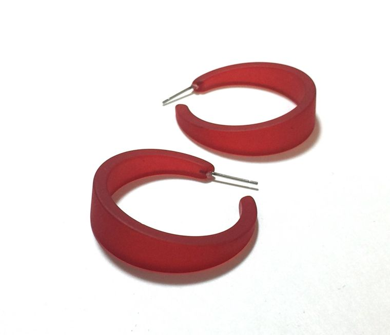 Cherry Red Frosted Hoop Earrings | The Emily Hoops | vintage lucite big hoop earrings | sustainable upcycled fashion