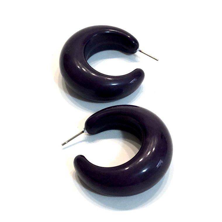 Black Chunky Hoops | Retro Large Lucille Ball Hoops | vintage lucite hoop earrings | Leetie Lovendale