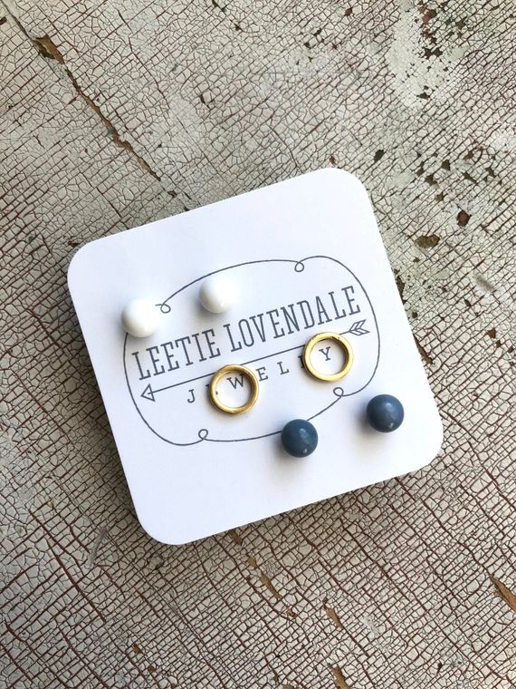 Tiny Geo Studs | White Frosted Gold & Slate Blue Stud Earrings | Minimalist Earring Set