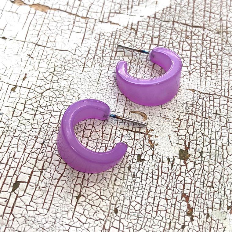 Lilac Hoop Earrings | Light Purple Moonglow Mini Boom Hoops | lucite hoop earrings