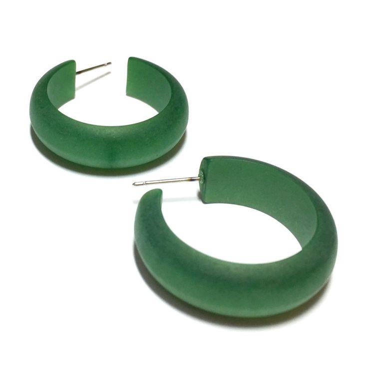 Green Hoop Earring | Jade Green Matte Striped Moonglow Hoops | vintage lucite Simple Hoop earrings