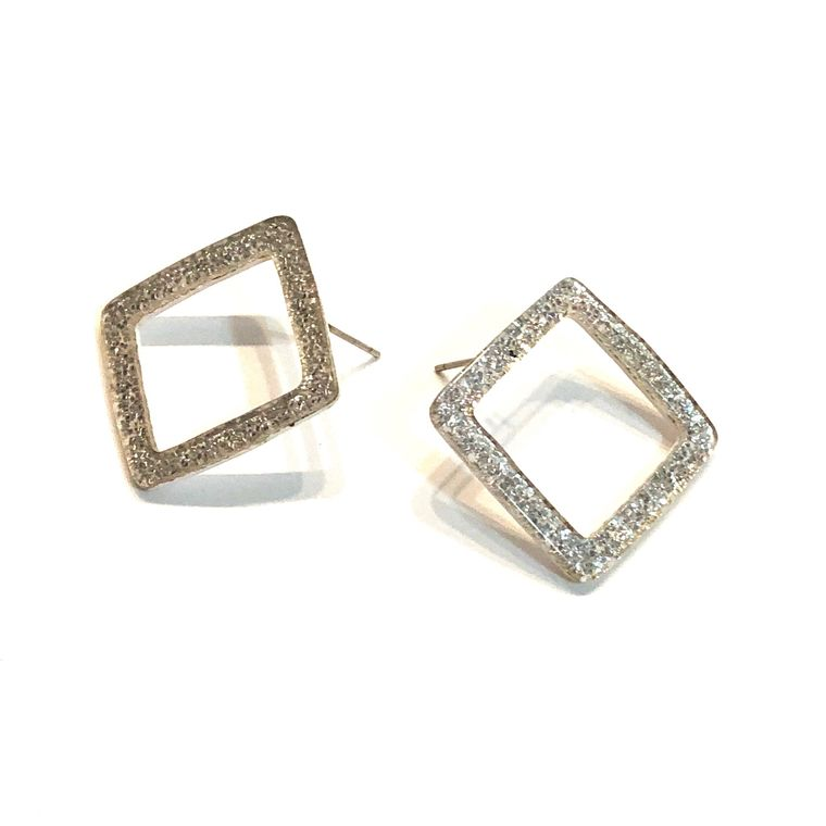 Silver Glitter Square Donut Stud Earrings | vintage resin studs | Sparkle Geometric Hollow Post Earrings