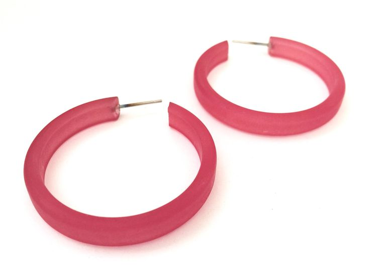 Raspberry Frosted Hoops | berry red hoop earrings | The Leetie Classic Hoop | vintage lucite earrings