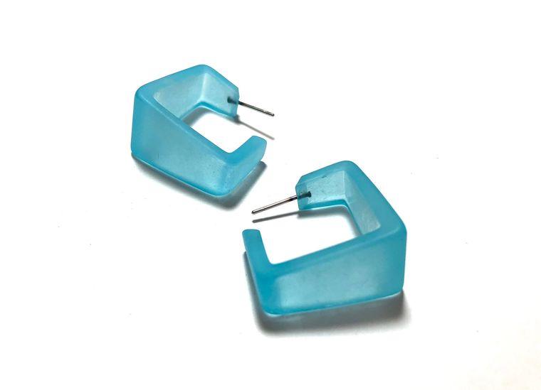 Turquoise Hoop Earrings | Wide Cubist Hoops | vintage frosted lucite square hoop earrings
