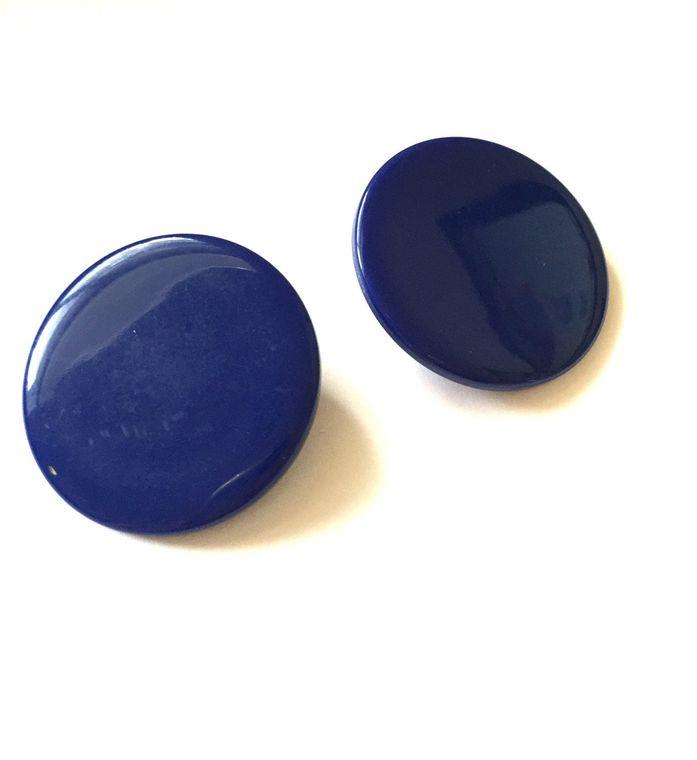 Navy Blue Lucite Disc Earrings | Large Mod Discs | Retro Dark Blue Circles | Mod Vintage Lucite Retro Studs