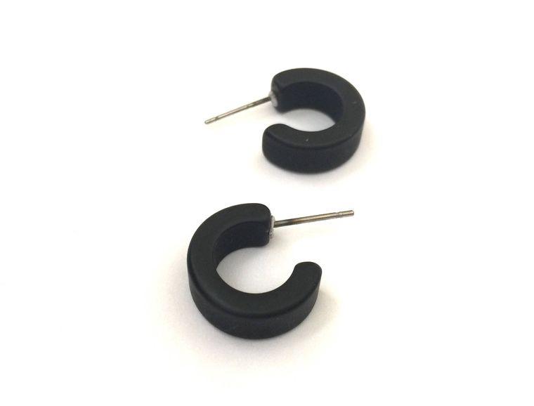 Small Black Hoops | Tiny Jet Black Hoop Earrings | Matte Black Hugger Hoops | frosted vintage lucite hoop earrings
