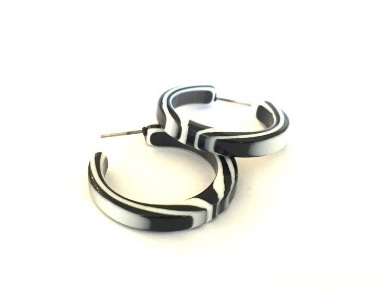 Black and White Hoop Earrings | Marbled Hoops | Striped Vintage Lucite Earrings | Leetie Lovendale