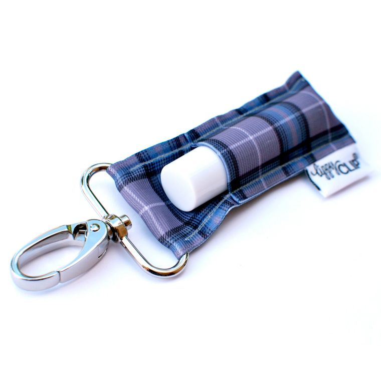 Grey Plaid LippyClip Lip Balm Holder