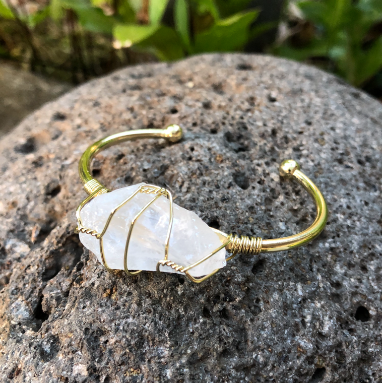 "Clear Crystal Quartz Rough Gemstone Gold Bangle Cuff Bracelet ~ ""Spiritual Awareness, Clarity, & Power"""