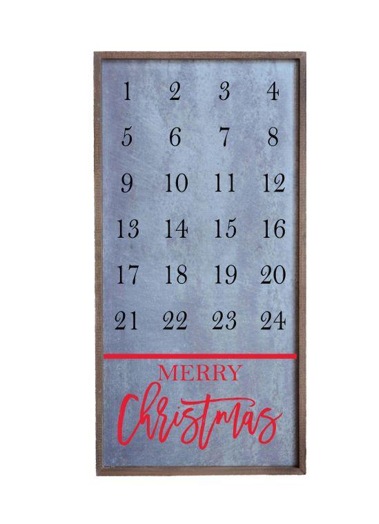 12x24 Magnetic Christmas Countdown Calendar With Santa Magnet