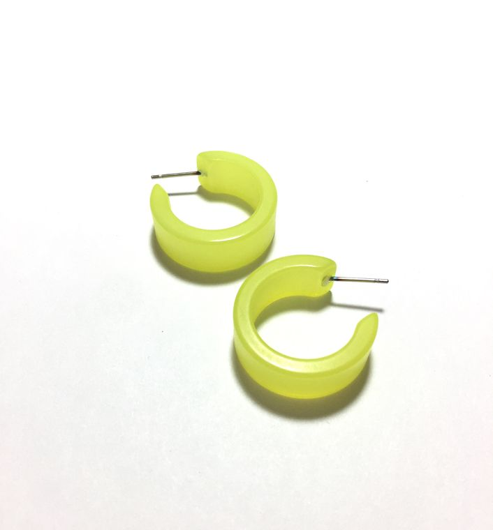 Neon Yellow Hoop Earrings | Yellow Wide Classic Hoops | vintage mooglow lucite hoop earrings | sustainable jewelry Leetie Lovendale