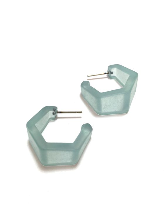 Caribbean Teal Hexagon Geo Hoop Earrings | Frosted Lucite Hoops Hand Dyed and Made with Vintage Plastics