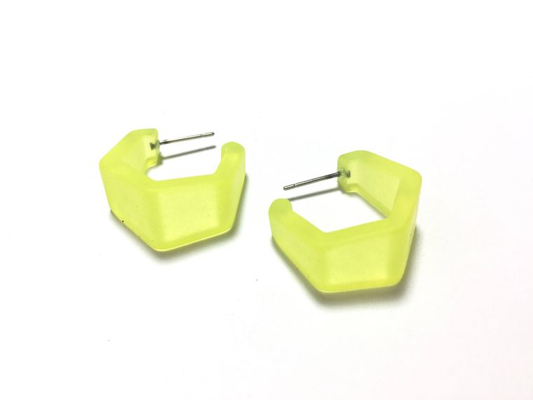 Neon Yellow Hexagon Geo Hoop Earrings | Frosted Lucite Hoops Hand Dyed and Made with Vintage Plastics