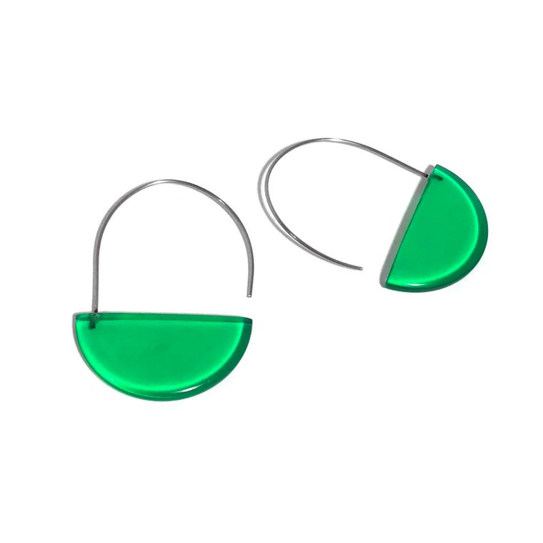 Kelly Green Modern Half Circle Earrings | Geometric Lucite Wire Drop Hoop Earrings | Leetie Lovendale