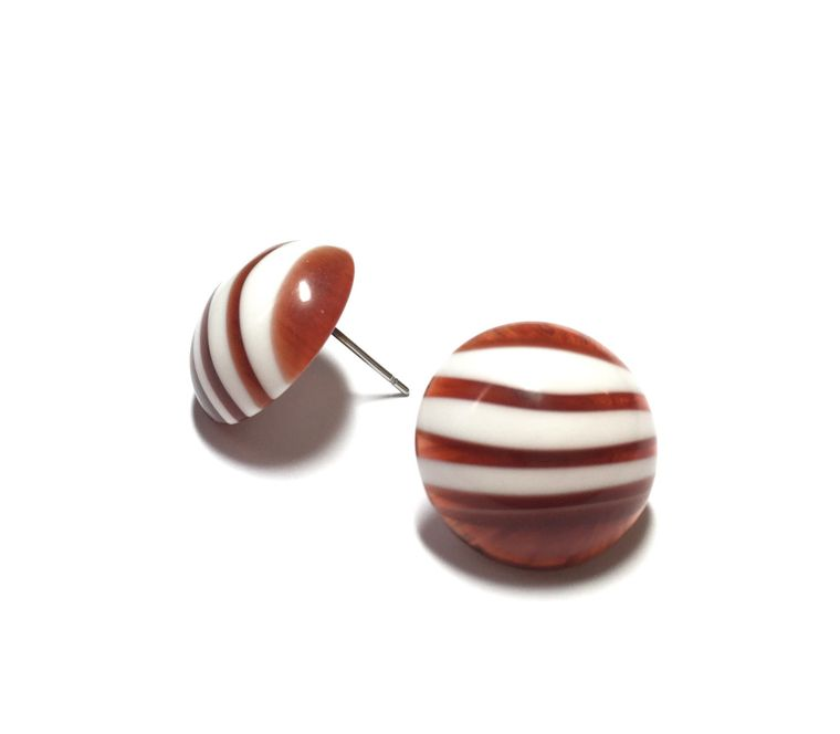 Tortoise Stripe Studs | Agate Stripe Stud Earrings | Retro Button Studs | vintage lucite post earrings