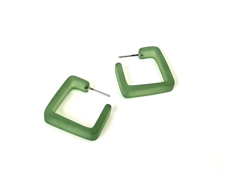 Sea Glass Green Square Hoop Earrings | Olive Green Matte Square Hoops | vintage lucite hoop earrings