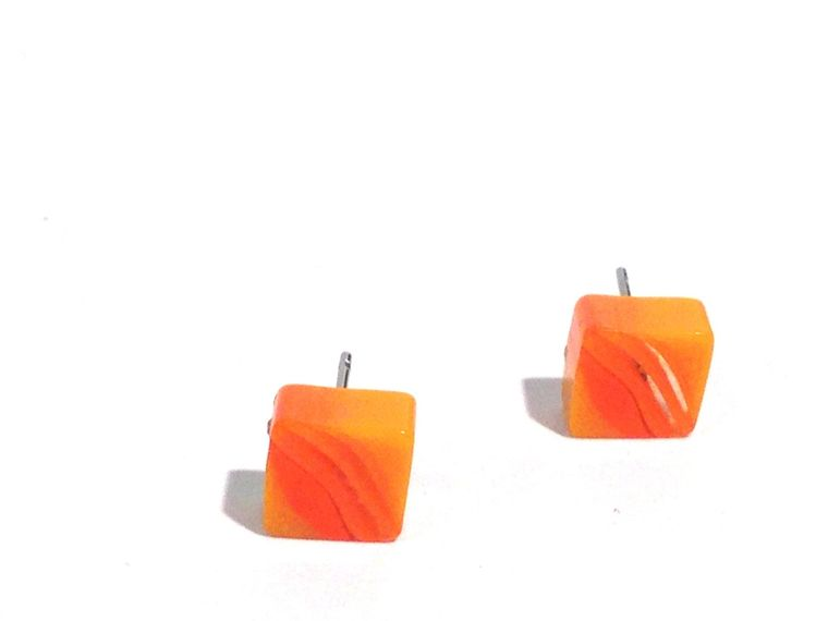 Orange Stud Earrings | Citrus Orange Stripe Square Studs | vintage lucite post earrings