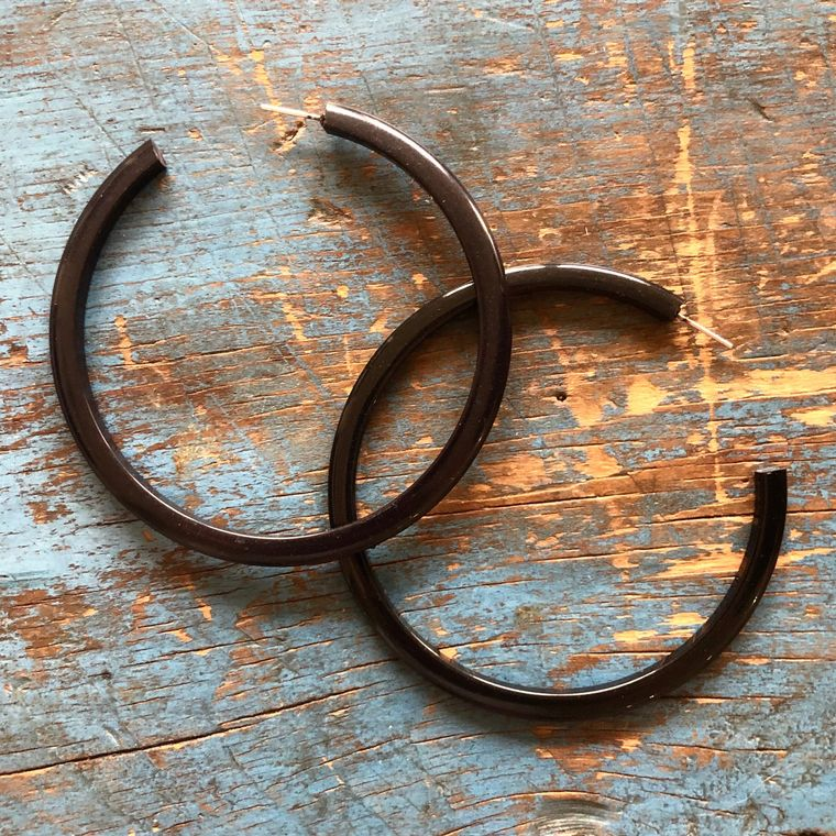 Black Extra Large Hoop Earrings | Vintage Lucite Acrylic 3 Inch Bangle Hoops