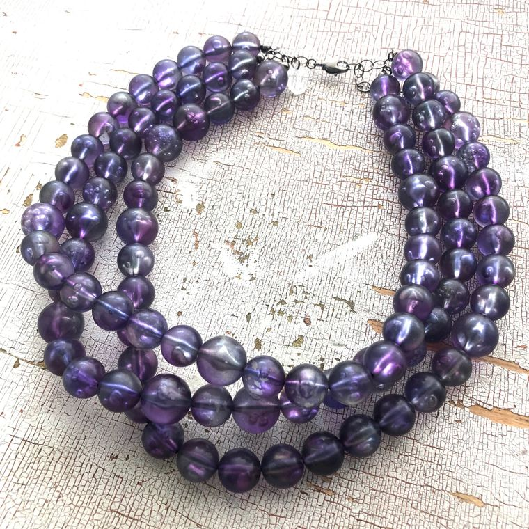 Purple Bubble Beaded Multi Strand Lucite Acrylic Morgan Statement Necklace