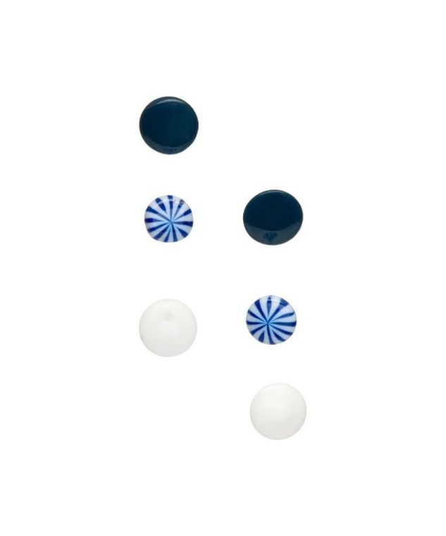 Black and Blue and White Have to Have Stud Earrings Set - Lucite Post Earrings - Color Story Accessories Palette